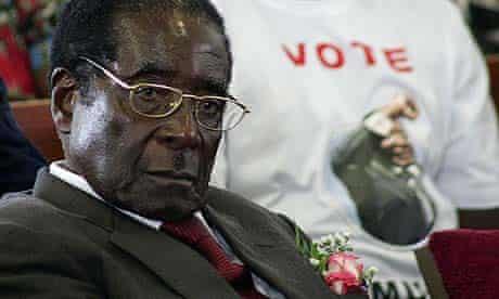Zimbabwean president Robert Mugabe at a church service in Bulawayo