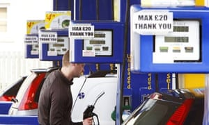 Customers filling up at a petrol station in Linlithgow