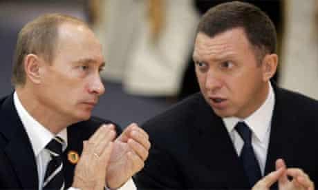 Oleg Deripaska, owner of OAO Rusal, with Russian President Vladimir Putin