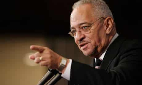 Reverend Jeremiah Wright, former pastor of the Trinity United Church of Christ in Chicago, Illinois, addresses the National Press Club in Washington. Photograph: Chip Somodevilla/Getty Images