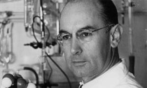 Dr Albert Hofmann shows a model of the LSD molecule