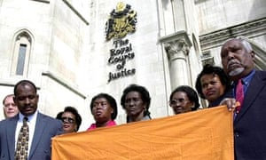 Chagos Islanders pictured after winning the right to return home after a high court battle in 2000