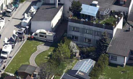 An aerial view of the building in Amstetten where Josef Fritzl imprisoned his daughter for 24 years in a windowless basement cell and fathered seven children with her