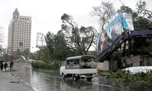 Damage done to Burma's largest city, Yangon, after tropical cyclone Nargis tore through swathes of the country