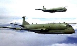 A pair of RAF Nimrod MR2s in echalon port formation