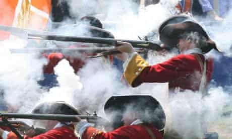 A musket demonstration at the Battle of the Boyne Heritage Centre in Co Meath