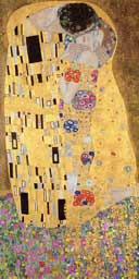 A detail of Gustav Klimt'sThe Kiss, which is in the Belvedere collection