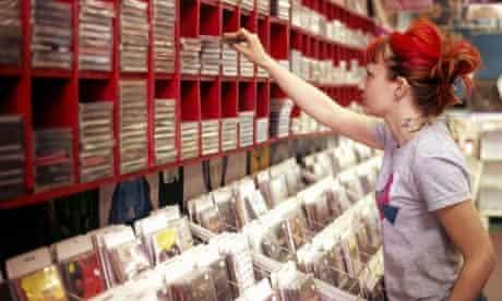 Girl in music shop