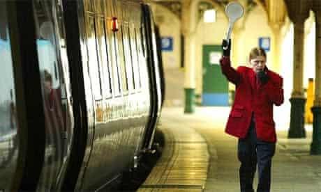 A train departs Edinburgh's Waverley station