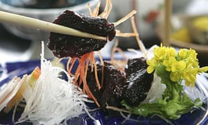 Slices of raw whale meat - an expensive delicacy - are served in the Japanese coastal town of Wada