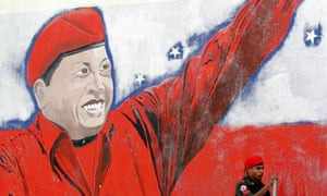 A Caracas mural showing Hugo Chavez