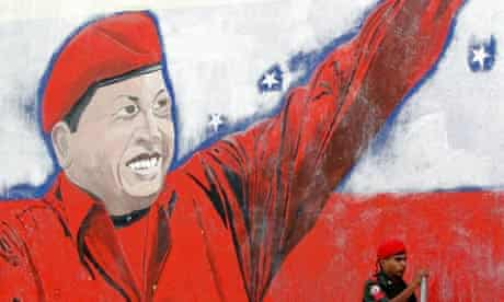 A Caracas mural showing Hugo Chavez
