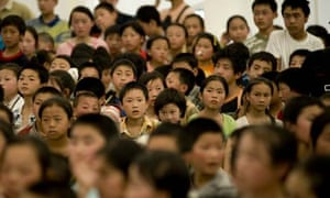 Children who survived the earthquake attend lessons in Sichuan province