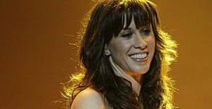 Alanis Morissette performs on stage in London