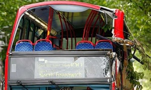 The No 188 bus that crashed into a tree in central London