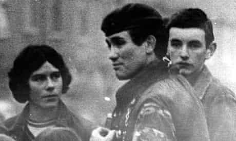 The murdered Grenadier Guards captain Robert Nairac talks to children in the Ardoyne area of Belfast