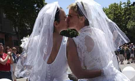 Two women on their wedding day