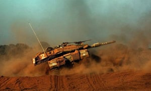 An Israeli tank on exercise in the Golan Heights