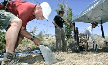 Investigators search for evidence at Barker Ranch, the former home of the murderer Charles Manson. Photograph: Marcio Jose Sanchez/AP