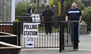 Voters arrive at polling station