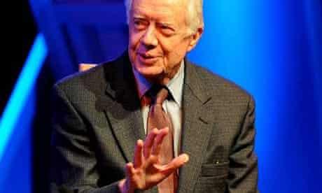 Former US President Jimmy Carter speaking at the 2008 Hay Festival