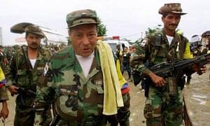 Marulanda escorted by rebels