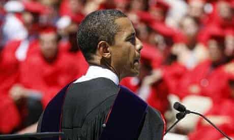 Barack Obama speaks at Wesleyan University in Middletown, Connecticut
