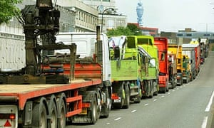 A line of lorries on the A40 in Paddington, west London, during their protest against rising tax on fuel
