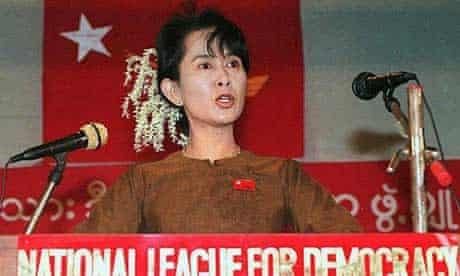 Aung San Suu Kyi addresses a rally in Rangoon in 1997