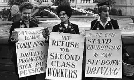 Women bus conductors with placards at a protest in 1968 to demand equal rights with men at work
