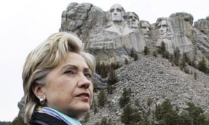 US elections: Hillary Clinton stands in front of Mount Rushmore
