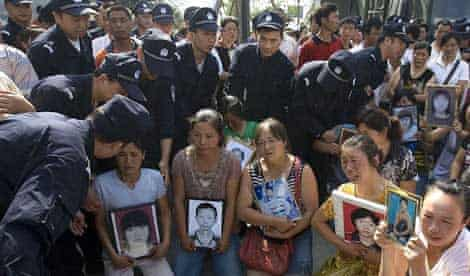 Protest by parents who lost children in the China earthquake