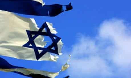 An Israeli flag in the former Gaza Strip settlement of Neve Dekalim
