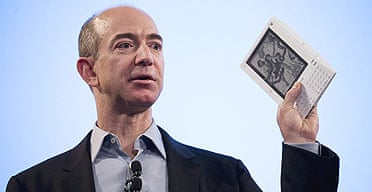 Jeff Bezos, founder and CEO of Amazon.com, introduces the Kindle in New York in 2007.