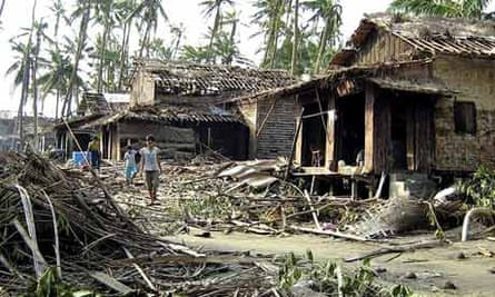Destruction caused by Cyclone Nargis in the Irrawaddy delta