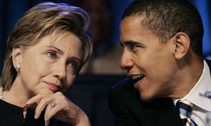 Hillary Clinton talks to Barack Obama at a conference in Washington in 2006