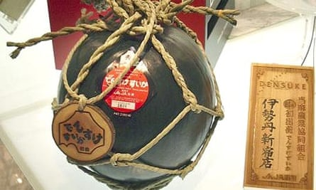 A black jumbo watermelon on sale for 630,000 yen (£3,000) at Tokyo's Isetan department store