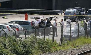 Area where a Greater Manchester policeman was shot dead during training exercise