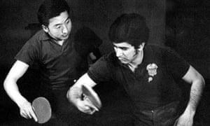 American Errol Resek and Chinese player Xu Shaofa take part in a table tennis training session in 1971