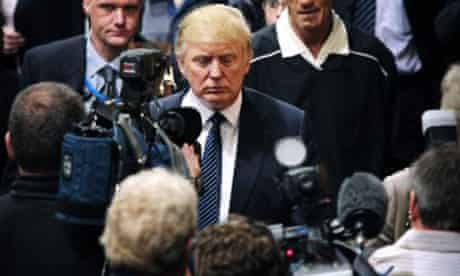 Donald Trump adjourns for lunch as he attends a public inquiry over his plans to build a golf resort near Aberdeen