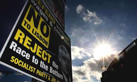 A poster in Dublin city centre encourages a 'no' vote in Ireland's referendum on the Lisbon EU reform treaty