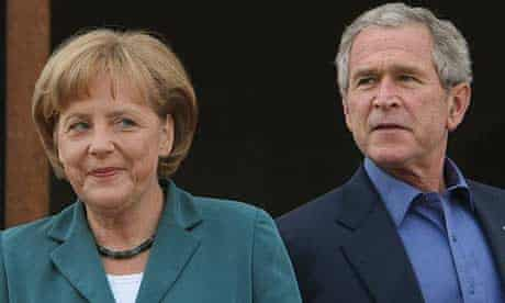 The German chancellor, Angela Merkel, with the US president, George Bush