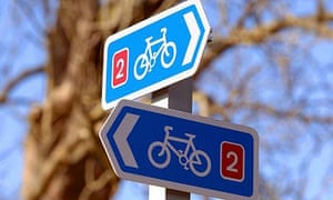 Signs pointing to a cycle path