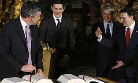 Gordon Brown signing the Lisbon treaty in 2007
