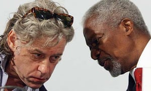The chairman of the Africa Progress Panel (APP) and former UN secretary general Kofi Annan and Live Aid founder Bob Geldof