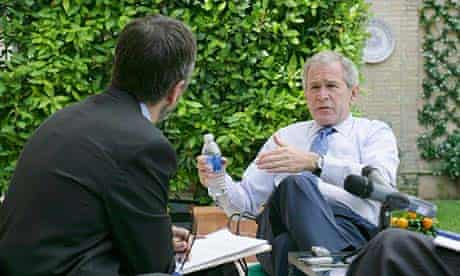 US president George Bush being interviewed by The Observer's Ned Temko