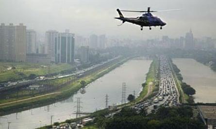 Helicopter flying over Sao Paulo