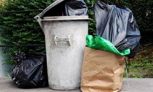 Black bin bags and rubbish