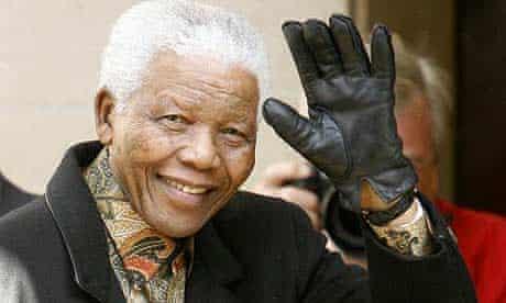 Nelson Mandela arrives at a hotel in central London