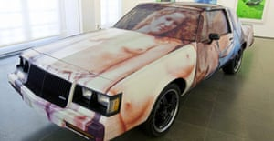 A sculpture installation of a car at the Richard Prince: Continuation exhibition at the Serpentine Gallery in London